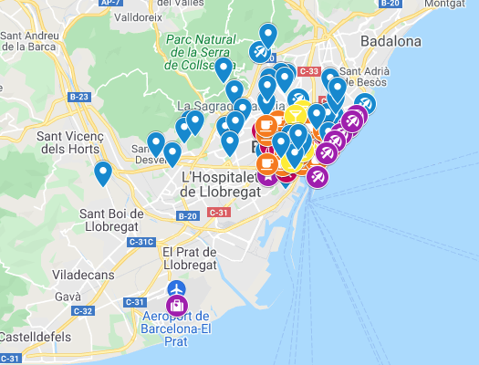 mapka Barcelona