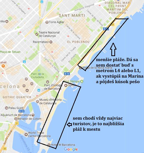 mapa_pláž_prístav_barcelona_travelhacker