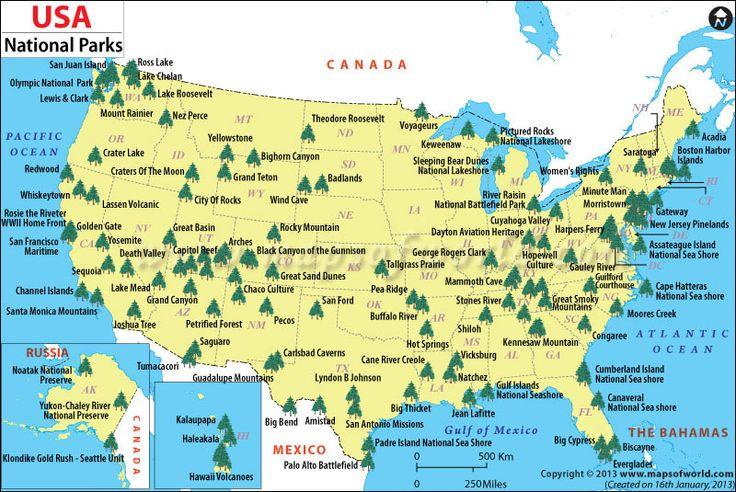 mapa_usa_národné parky_vstup_travelhacker