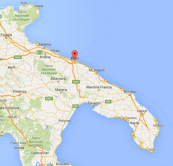 Taliansko_Bari_mapa_travelhacker