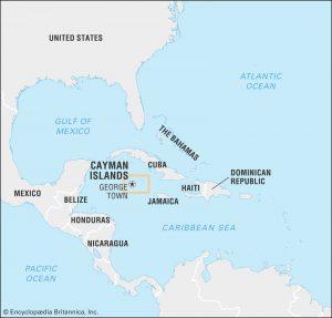 Kajmanske ostrovy, mapa