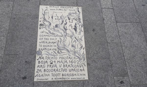 Pamätná tabuľa, upálenie bosorky, Bratislava